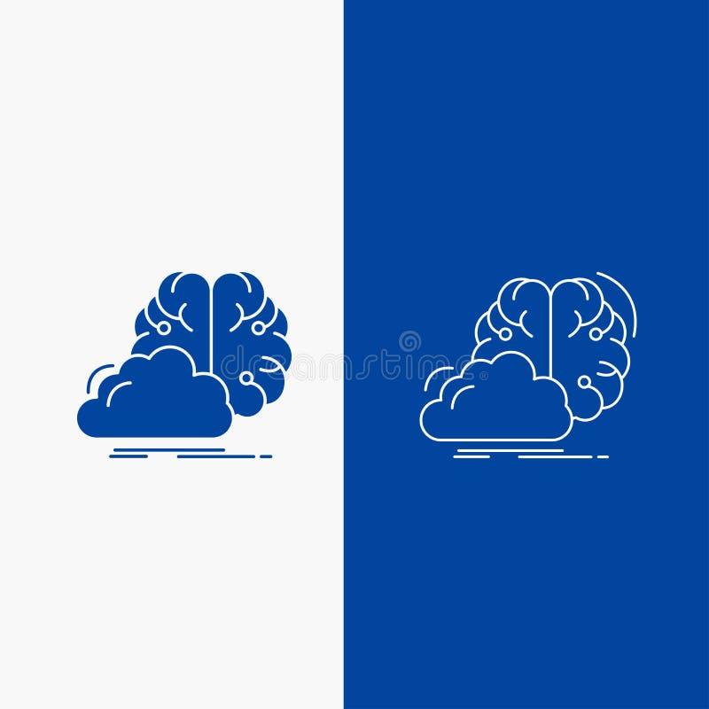 brainstorming, kreatywnie, pomysł, innowacja, inspiracji linia i glif sieć, Zapina w Błękitnego koloru Pionowo sztandarze dla UI  ilustracja wektor