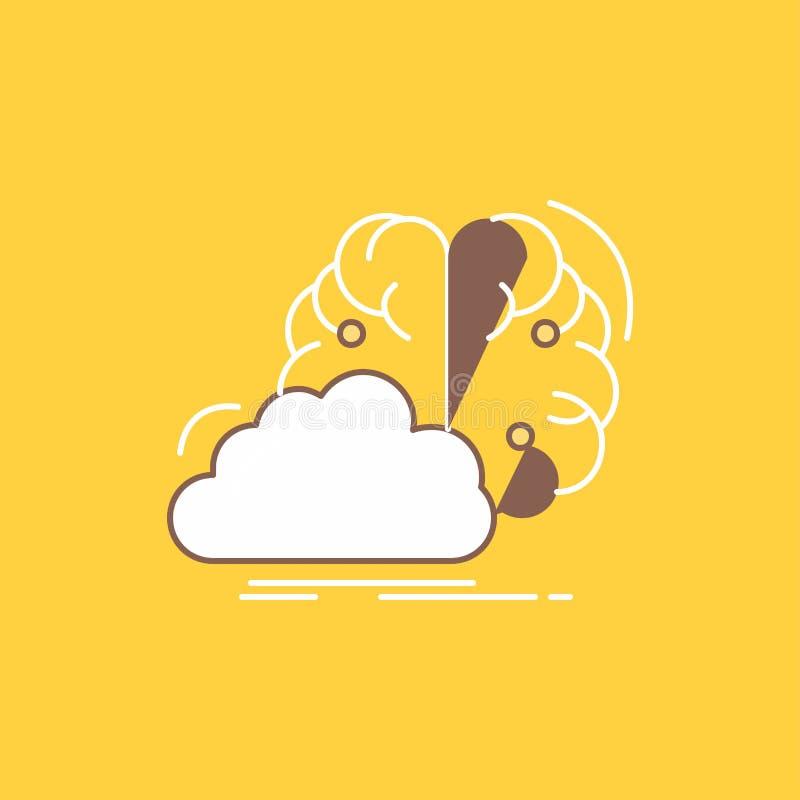 brainstorming, kreatywnie, pomysł, innowacja, inspiracji mieszkania linia Wypełniał ikonę Pi?kny logo guzik nad ? ilustracji