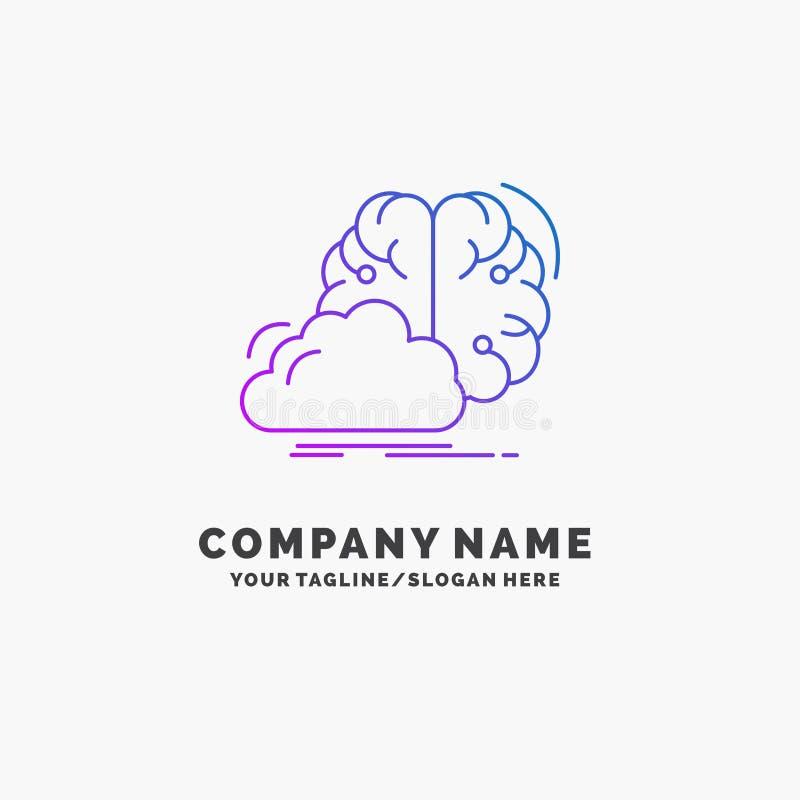 brainstorming, kreatywnie, pomys?, innowacja, inspiracja logo Purpurowy Biznesowy szablon Miejsce dla Tagline ilustracja wektor