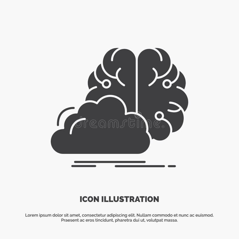 brainstorming, kreatywnie, pomys?, innowacja, inspiracji ikona glifu wektorowy szary symbol dla UI, UX, strona internetowa i wisz ilustracji