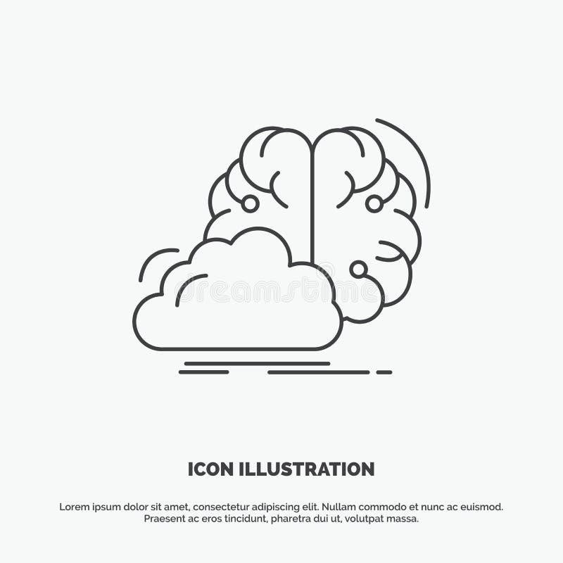 brainstorming, kreatywnie, pomys?, innowacja, inspiracji ikona Kreskowy wektorowy szary symbol dla UI, UX, strona internetowa i w royalty ilustracja