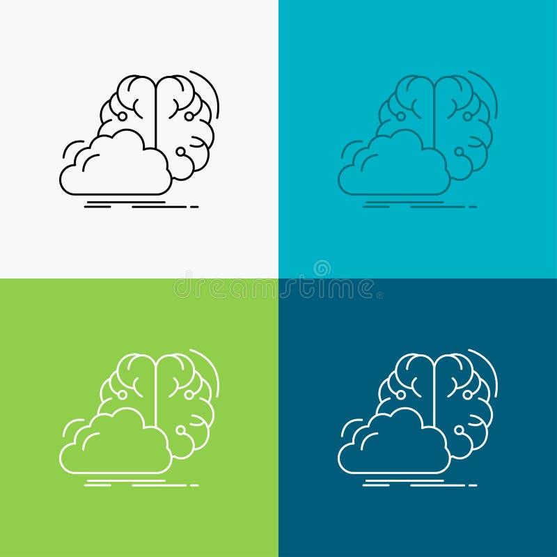 brainstorming, kreatywnie, pomys?, innowacja, inspiracji ikona Nad R??norodnym t?em Kreskowego stylu projekt, projektuj?cy dla si ilustracja wektor