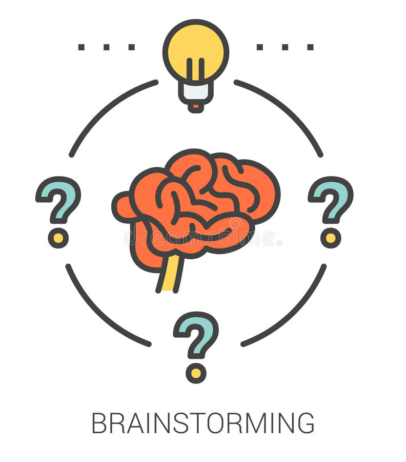 Brainstorming kreskowe ikony ilustracja wektor