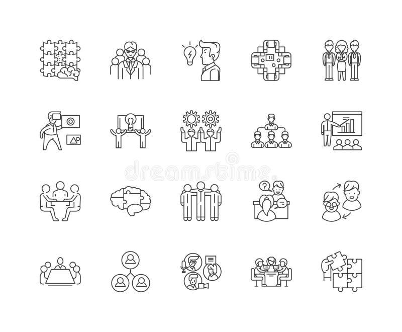 Brainstorming kreskowe ikony, znaki, wektoru set, kontur ilustracji poj?cie royalty ilustracja