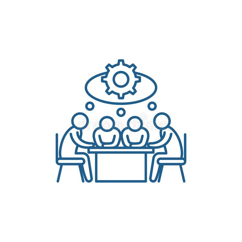 Brainstorming kreskowego ikony pojęcie Brainstorming płaski wektorowy symbol, znak, kontur ilustracja ilustracja wektor