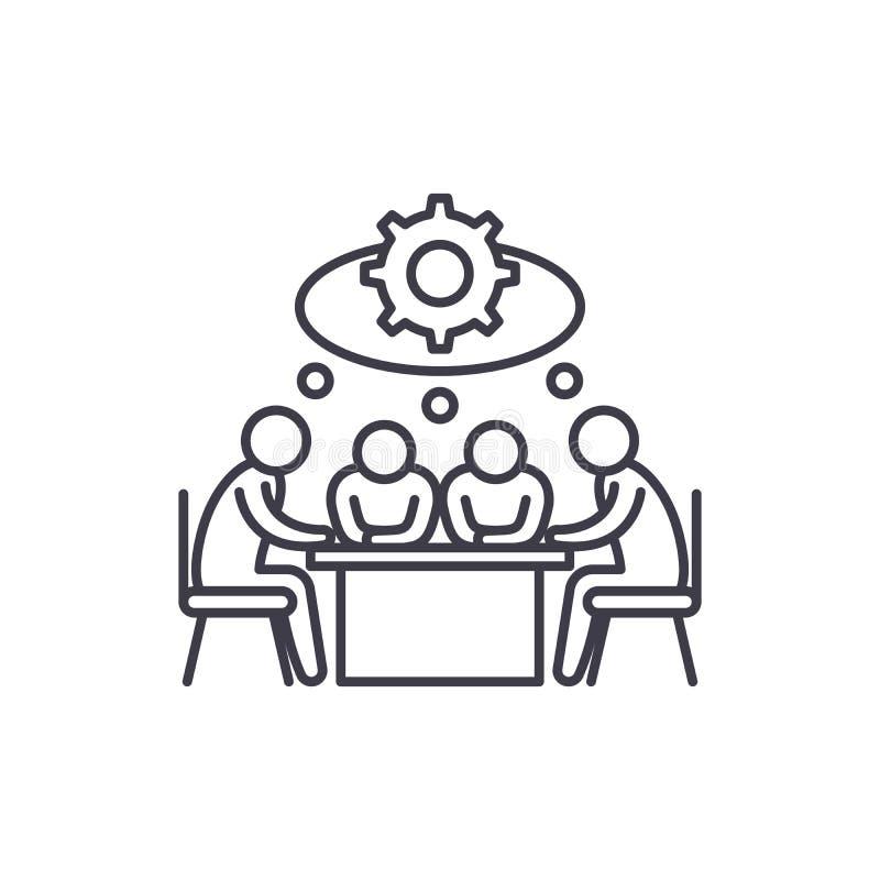 Brainstorming kreskowego ikony pojęcie Brainstorming wektorowa liniowa ilustracja, symbol, znak ilustracji