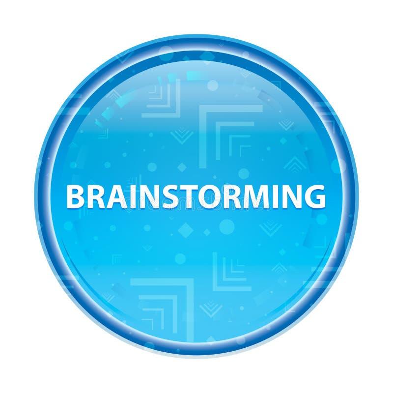 Brainstorming kwiecistego błękitnego round guzika ilustracja wektor