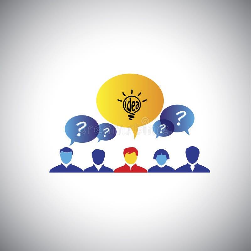 Brainstorming, lider & przywódctwo, zwycięzca z pomysłem - pojęcie v royalty ilustracja