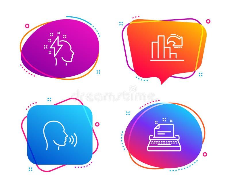Brainstorming, Malej?cy wykres i istota ludzka, ?piewamy ikony ustawia? Maszyna do pisania znak B?yskawicowy rygiel, Szpaltowa ma royalty ilustracja