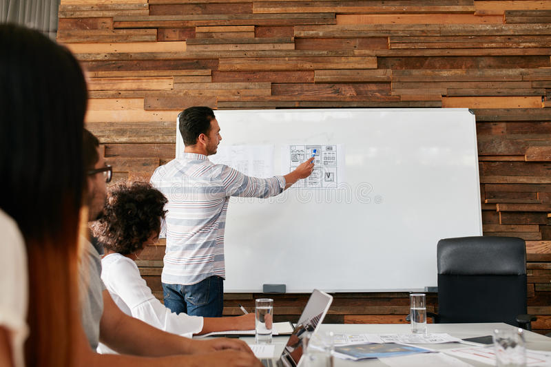 Brainstorming at a meeting room of creative agency. Group of young adults sitting at the table with men showing new mobile application layout on a whiteboard stock photo