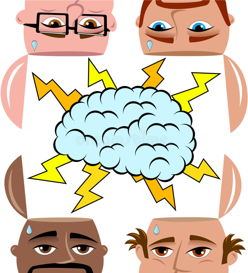 Brainstorming Men Sharing Open Minded Isolated. Brainstorming Open Minded Men sharing different ideas thinking reasoning solution isolated on white. Eps vector illustration