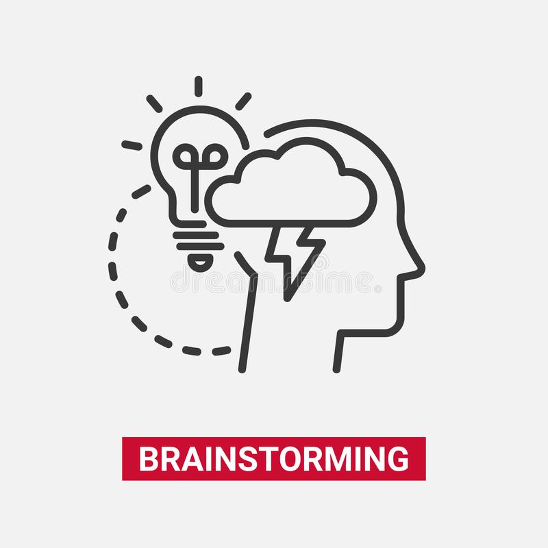 Brainstorming - modern vector line design single icon. Brainstorming - modern vector single line design icon. A black and white image of a human head in profile stock illustration