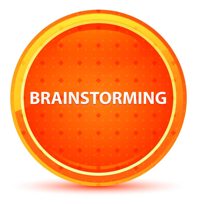 Brainstorming Naturalnego Pomarańczowego Round guzika ilustracja wektor