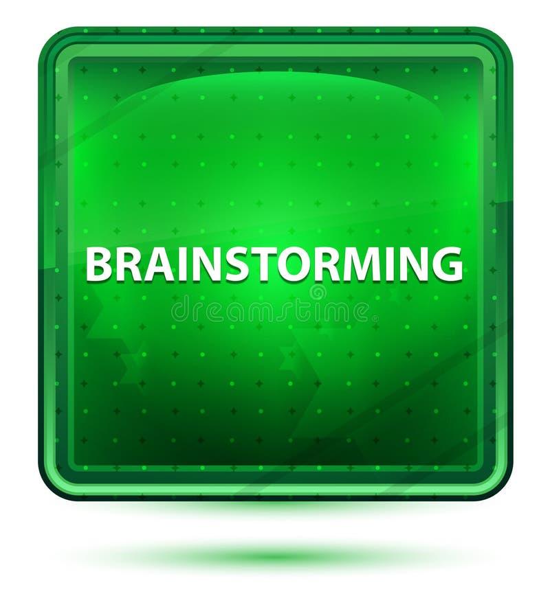 Brainstorming Neonowego Jasnozielonego Kwadratowego guzika royalty ilustracja