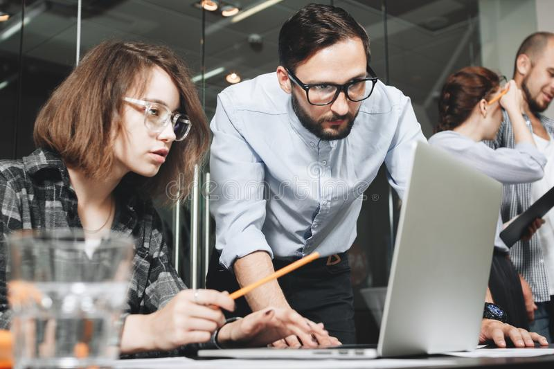 Brainstorming new startup business team coworking workers. Work royalty free stock photos