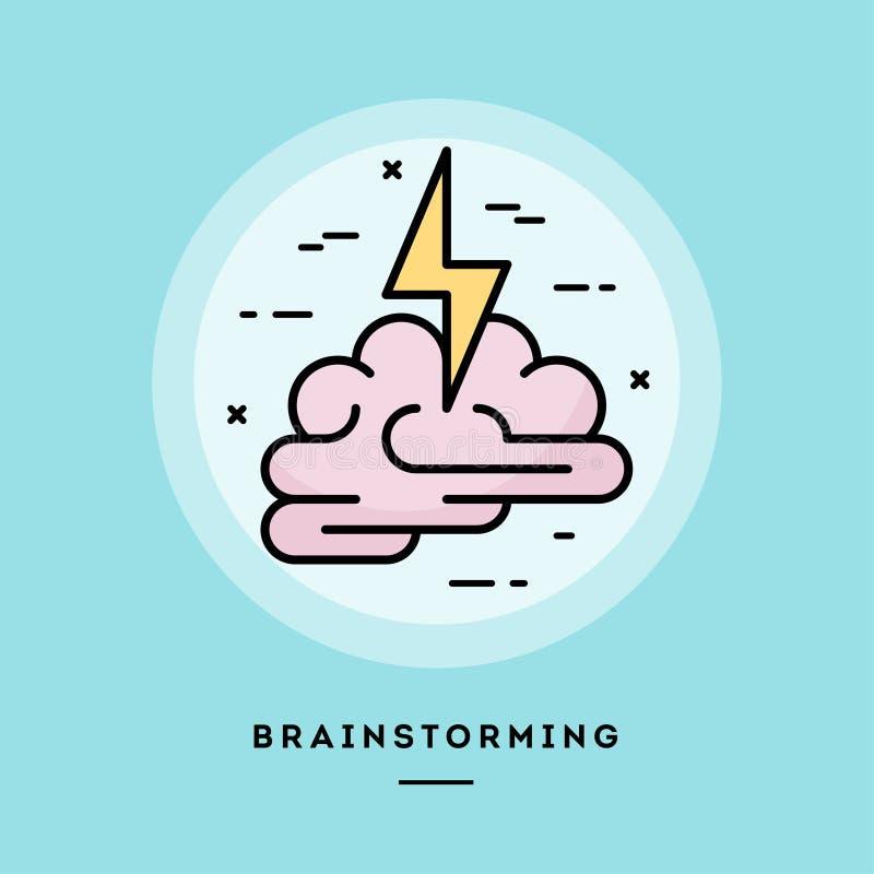 Brainstorming, płaskiego projekta cienki kreskowy sztandar również zwrócić corel ilustracji wektora royalty ilustracja