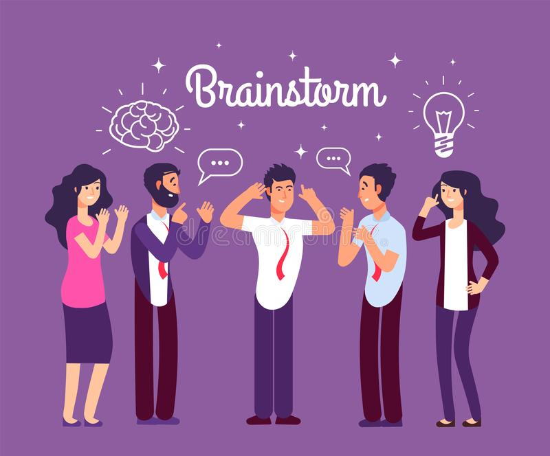 Brainstorming people. Man and woman talking and thinking. Team generates creative idea. Business meeting vector concept vector illustration