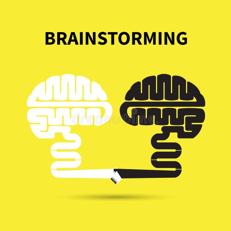 Brainstorming pojęcie Kreatywnie móżdżkowy abstrakcjonistyczny wektorowy loga projekt ilustracji