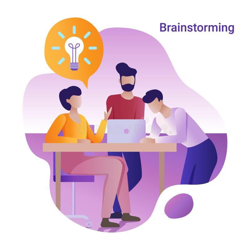 Brainstorming pojęcie Płaska wektorowa ilustracja dla sztandaru Grupa ludzi trzyma pracującą dyskusję royalty ilustracja