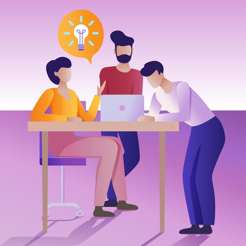 Brainstorming pojęcie Płaska wektorowa ilustracja Grupa ludzi trzyma pracującą dyskusję ilustracja wektor