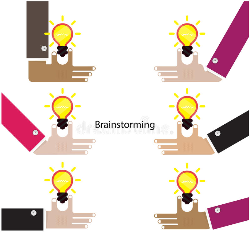 Brainstorming pojęcie Pracy zespołowej i partnerstwa symbol kreatywnie royalty ilustracja