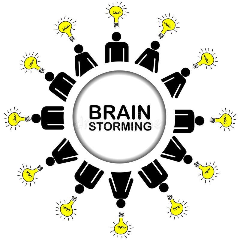 Brainstorming pojęcie z ludźmi ma pomysły ilustracja wektor