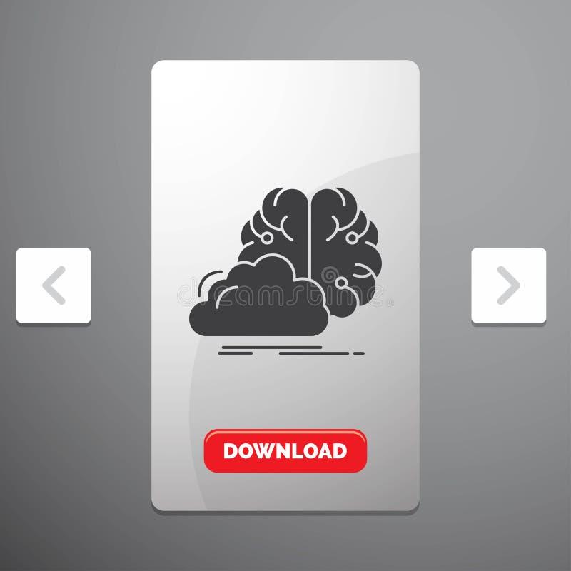 brainstorming, pomysł, innowacja, inspiracja glifu ikona w biby paginacji suwaka projekcie & Czerwony ściąganie guzik, kreatywnie ilustracji