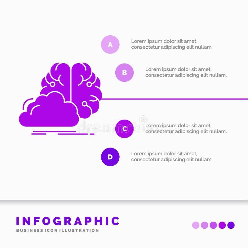 brainstorming, pomysł, innowacja, inspiracji Infographics szablon dla strony internetowej i prezentacja, kreatywnie, glif purpur  royalty ilustracja
