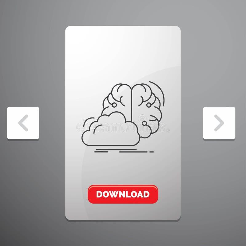 brainstorming, pomysł, innowacja, inspiracji Kreskowa ikona w biby paginacji suwaka projekcie & Czerwony ściąganie guzik, kreatyw ilustracji
