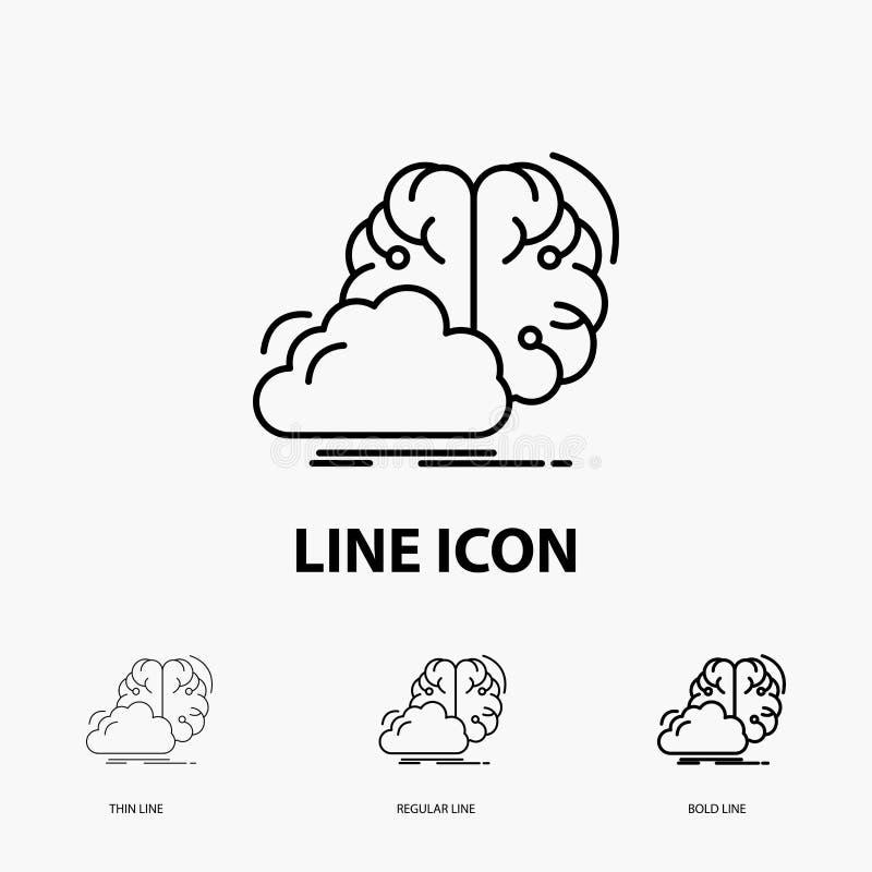 brainstorming, pomysł, kreatywnie, innowacja, inspiracji ikona w Cienkim, Miarowym i Śmiałym Kreskowym stylu, r?wnie? zwr?ci? cor ilustracja wektor