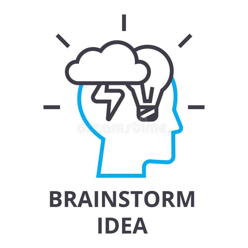 Brainstorming pomysłu cienka kreskowa ikona, znak, symbol, illustation, liniowy pojęcie, wektor royalty ilustracja