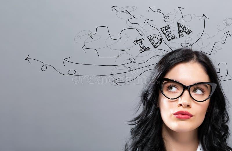 Brainstorming pomysłu strzały z młodym bizneswomanem zdjęcia royalty free