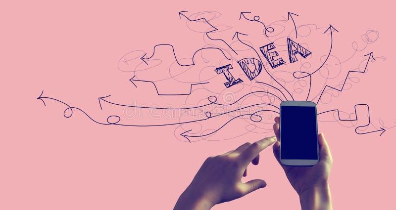 Brainstorming pomysłu strzały z smartphone fotografia royalty free