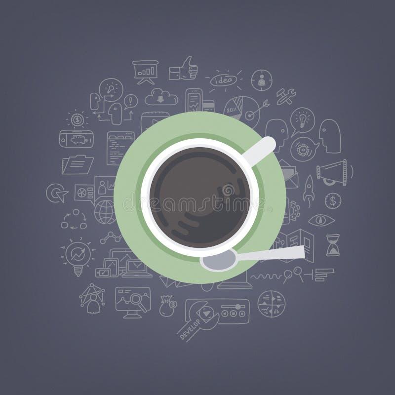Brainstorming pomysły z kawą ilustracji