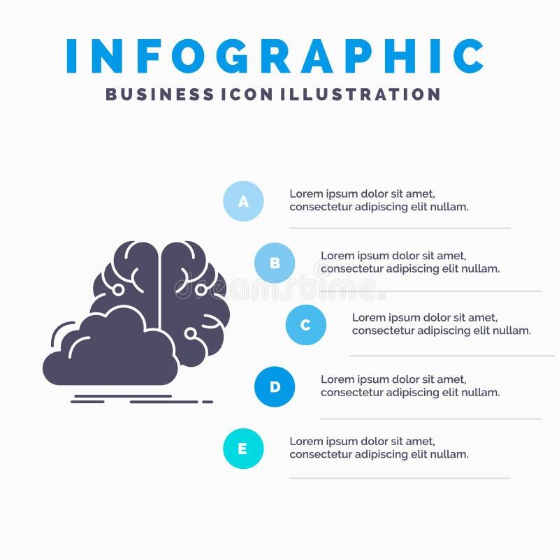brainstorming, pomys?, innowacja, inspiracji Infographics szablon dla strony internetowej i prezentacja, kreatywnie, glif Szara i royalty ilustracja