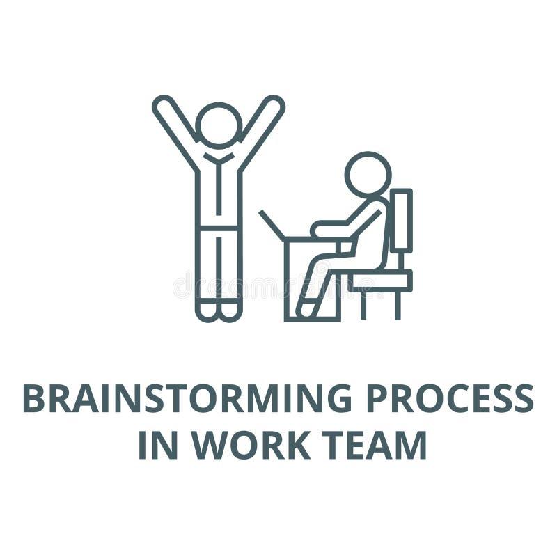Brainstorming proces w pracy drużynie wykłada ikonę, wektor Brainstorming proces w pracy drużyny konturu znaku, pojęcie symbol ilustracji