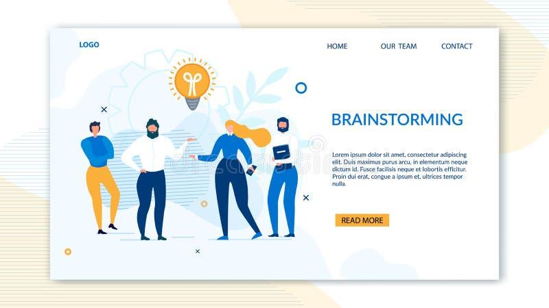 Brainstorming projekta lądowania stronę dla biznesu ilustracja wektor
