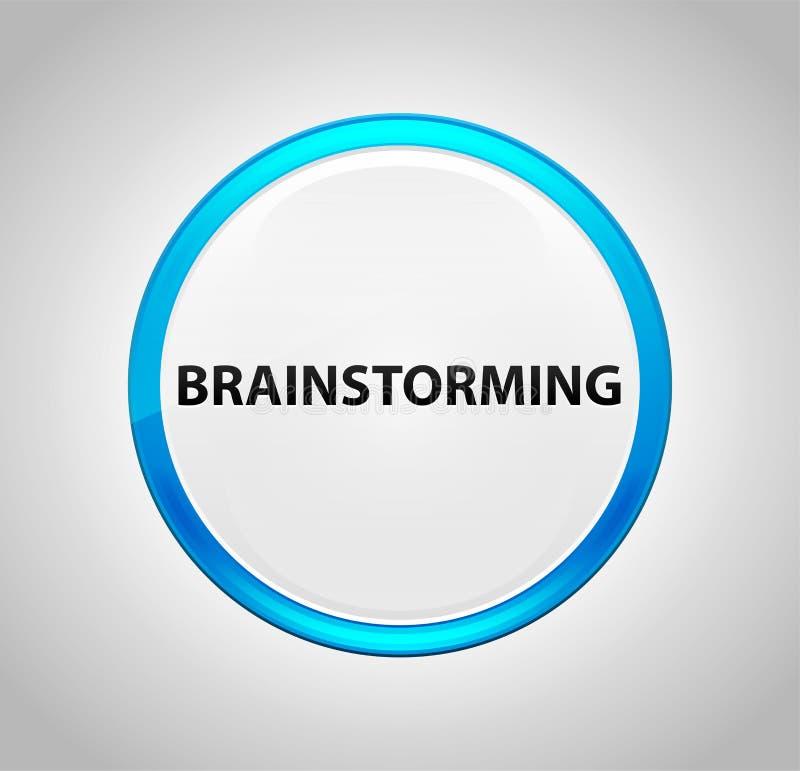 Brainstorming Round pchnięcia Błękitny guzik ilustracja wektor