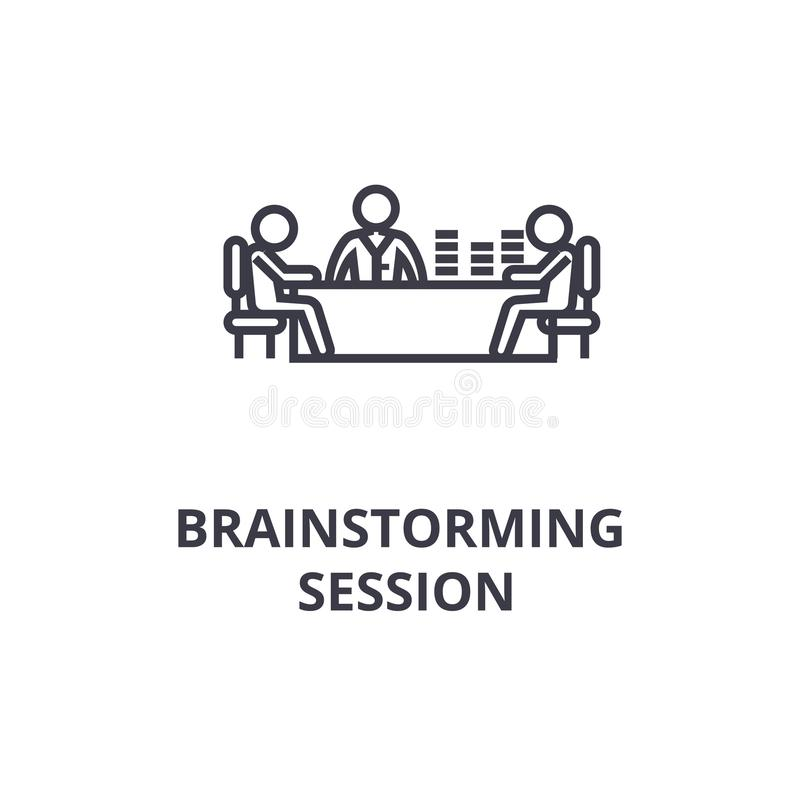 Brainstorming session thin line icon, sign, symbol, illustation, linear concept, vector. Brainstorming session thin line icon, sign, symbol, illustation, linear vector illustration