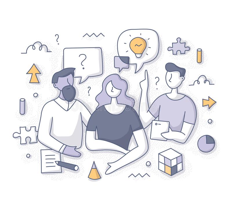 Brainstorming and Solving Problem Concept. Brainstorming and problem solving concept. Team collaborative process. People sharing ideas, finding solutions royalty free illustration