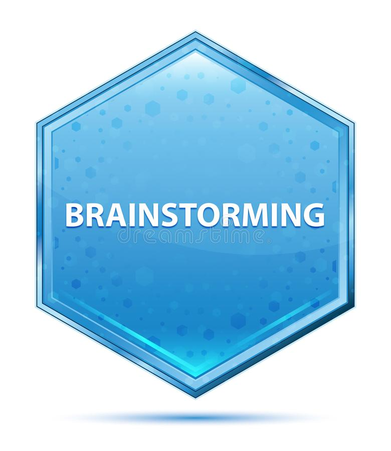 Brainstorming sześciokąta krystaliczny błękitny guzik royalty ilustracja