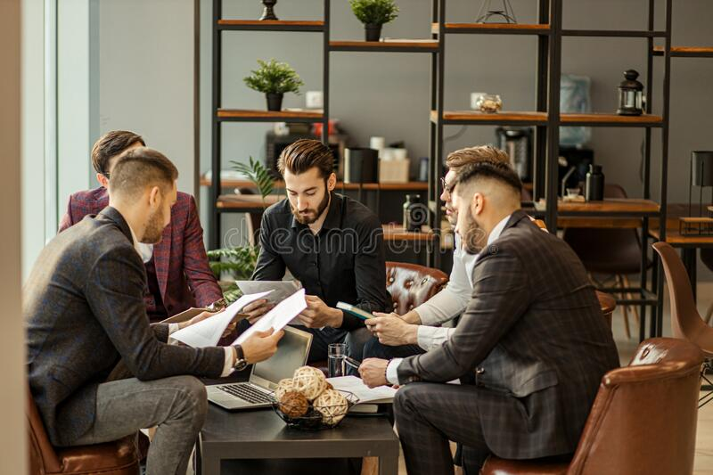 Brainstorming time of business team royalty free stock images