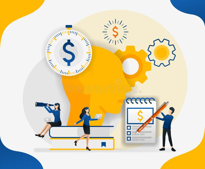 Brainstorming to streamline costs. manage finance. make thoughts in the head about money and finance, concept vector illustration. Can use for landing page royalty free illustration
