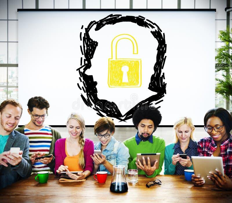 Brainstorming Unlock Human Resource Thinking Concept stock image