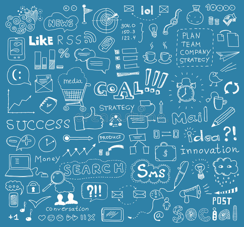 Brainstorming vector elements background. Hand drawn vector illustration of brainstorming doodles elements on business and social media theme. Isolated on blue
