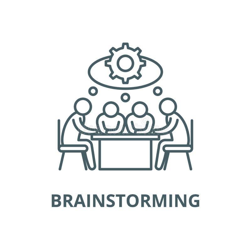 Brainstorming wektoru linii ikona, liniowy pojęcie, konturu znak, symbol royalty ilustracja