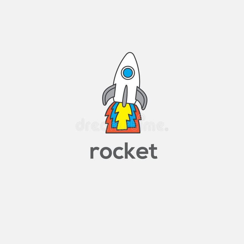 Brainstorming wektoru logo Twórczość znak Rakietowa ilustracja ilustracja wektor