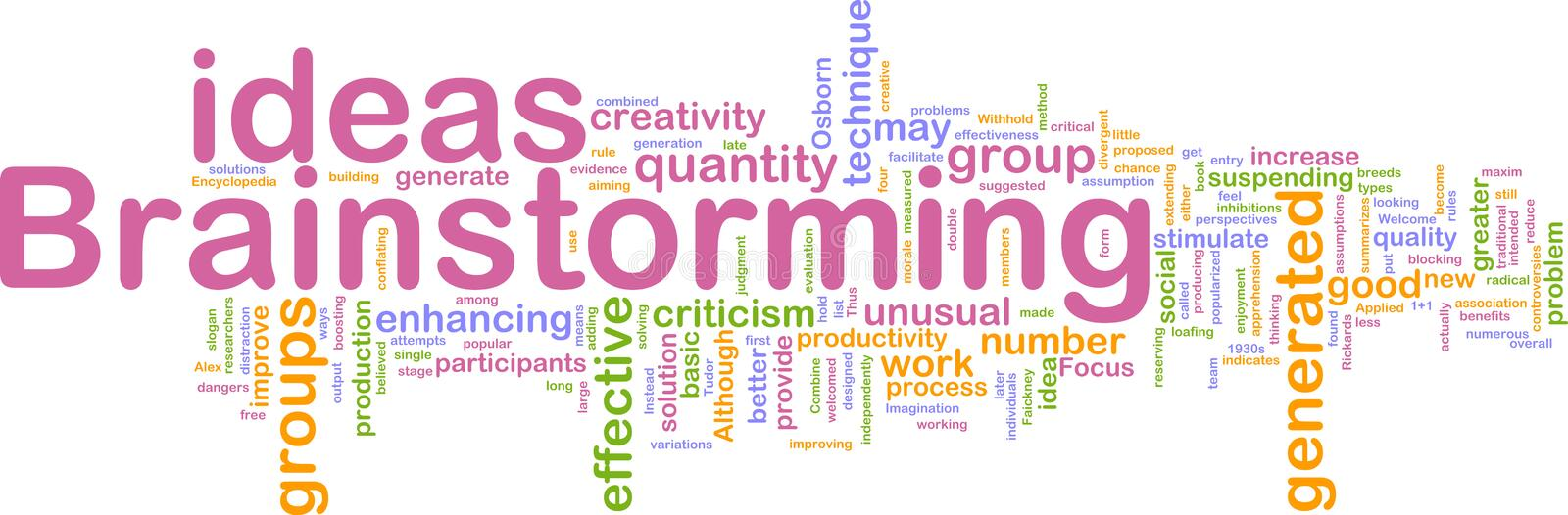 Brainstorming word cloud stock illustration