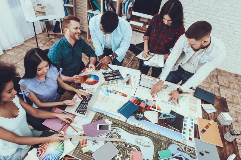 Brainstorming. Work. Landscape. Designers. Group. royalty free stock image