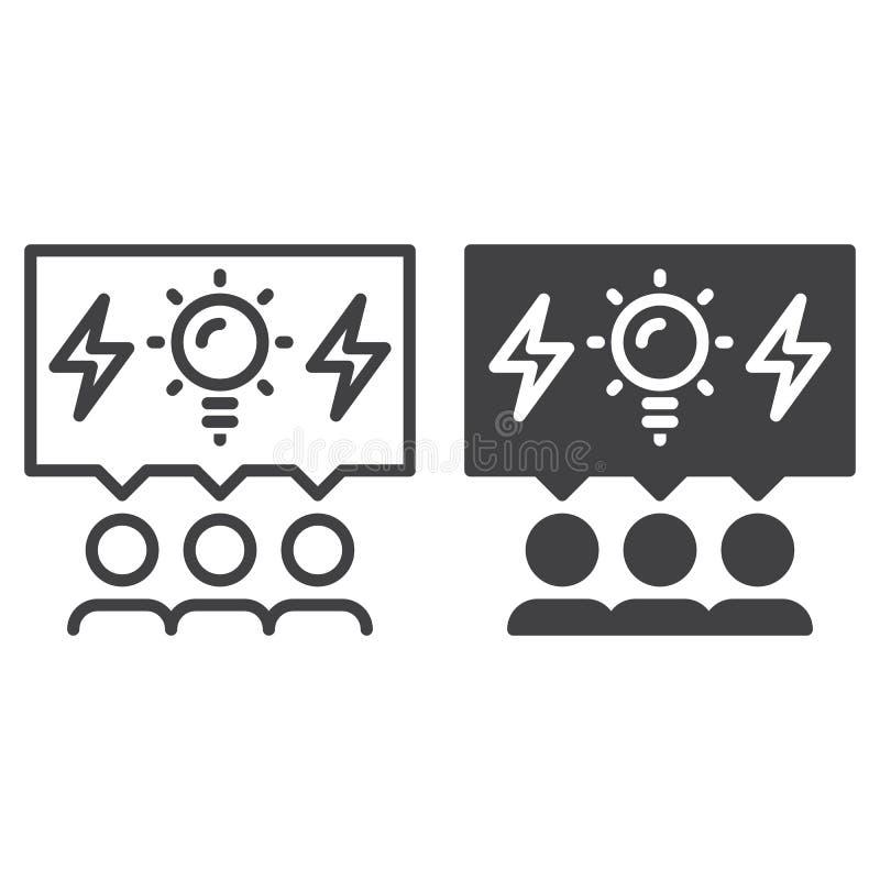 Brainstormingleute zeichnen und feste Ikone, umreißen und füllten das Vektorzeichen-, lineares und vollespiktogramm, das auf Weiß lizenzfreie abbildung